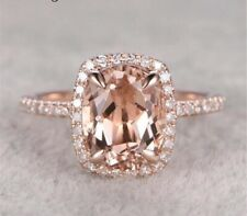 Morganite Gemstone 18K Rose Gold Plated Halo Ring for Women Size 7