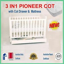 3 IN 1 PIONEER COT DRAWER Organic INNERSPRING MATTRESS baby CRIB TODDLE BED