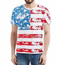 USA Flag Striped Vintage Mens T Shirt - US Flag Distressed Patriots Shirt (L)