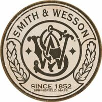 Smith & Wesson Logo Round Retro Vintage Tin Sign 12 x 12in