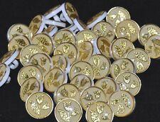 Mercerie lot de 5 boutons plastique blanc jaune inclusion fleur doré 14mm button