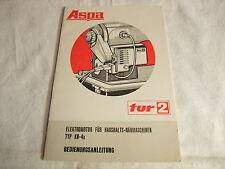 alte DDR Werbung Reklame Bedienungsanleitung Aspa tur 2 Nähmaschinenmotor 1975