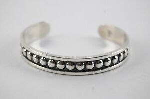 James Avery Sterling Silver BEADED CUFF BRACELET Small