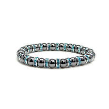 Womens Magnetic Hematite Tuchi Pearl Bracelet with Aquamarine Crystal 7.5""