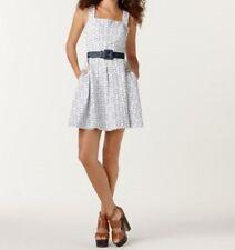 M60 Miss Sixty Dress Sz 12 White Eyelet Over Indigo Blue Belted Casual Tea Dres