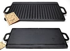 OLD MOUNTAIN CAST IRON TWO- BURNER GRILL/ GRIDDLE- PRESEASONED - NEW
