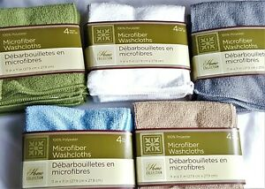 SOFT MICROFIBER WASHCLOTHS 4 Pk Baby Bath Face Camping Cleaning Shower
