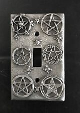 CUSTOM PEWTER GOTHIC STAR OF DAVID SKULL CROSSBONES LIGHT SWITCH PLATE COVER