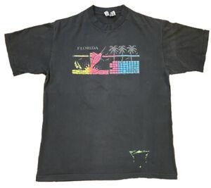 Vintage Florida Single Stitch T-Shirt LARGE Softee Neon Palm Tree Ocean Sailing