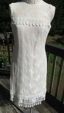 Vintage Jessica McClintock Cream Overlay Lined Sleeveless Lace Dress Size 12