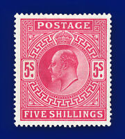 1902 SG263 5s Bright Carmine M51(1) Opulent Shade Unmounted Mint Cat £850 bbmt