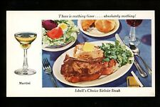Restaurant postcard Illinois IL Chicago Isbells Restaurant Sirloin Steak Martini