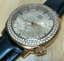 Unused Marc Ecko Men Rose Gold Diamond Accent Analog Quartz Watch Hours~New Batt