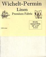 Wichelt Permin PREMIUM LINEN FABRIC 32 Count Cross Stitch 18 x 27 OPTICAL WHITE