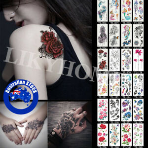2Pcs Temporary Tattoo Sticker 3D Waterproof Leg Clavicle Fake Tattoos Body Art E