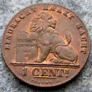 BELGIUM ALBERT I 1912 1 CENTIME, DUTCH TEXT, COPPER UNC