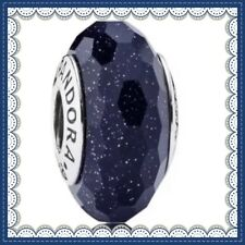 PANDORA Murano Glass Charms Midnight Blue Stardust Bead s925 Ale 791628 New,