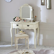 Cream Wooden Dressing Table Set Mirror Stool Shabby French Chic Bedroom Vanity