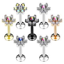 Lippenpiercing Labret Madonna Monroe Tragus Ohr Stecker Blüte Kristalle Blume