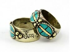 Solid Tibetan Turquoise Gemstone Inlay Eyeglass Alike Carved OM Mani Amulet Ring