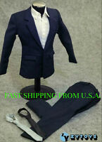 "1/6 Men Suit Set Dark Blue For 12"" Phicen Hot Toys Custom Male Figure ❶USA❶"