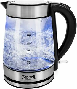 Zeppoli Electric Kettle - Glass Tea Kettle (1.7L) Fast Boiling and Cordless