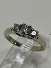 14k White Gold .47tcw Natural Diamond 3 Stone Wedding Anniversary Ring Size 5.25