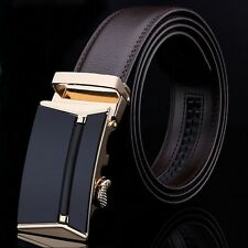 Fashion Men's Genuine Leather Automatic Buckle Brown Waist Strap Belt Waistband