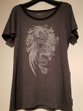 Marc Cain grey T shirt, black edging and pattern front size N4 UK14 silky feel