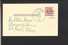 CLAM FALLS, WISCONSIN 1952 GOVERNMENT POSTAL CARD, POLK CO DPO, 1871/1966.