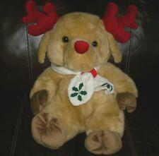 "24"" BIG VINTAGE CUDDLE WIT MOOSE REINDEER TAN CHRISTMAS STUFFED ANIMAL PLUSH TOY"