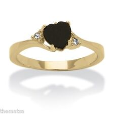 WOMENS 14K GOLD PLATED ONYX  HEART SHAPE CRYSTAL RING SIZE 5 6 7 8 9 10