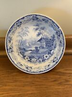 "Rare Antique Stubbs Longport 11"" Bowl Blue Transfer Pearlware 1828-1830 Pottery"