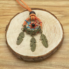 New Retro Handmade Dreamcatcher Feathers With Bead Long Chain Orange Necklace