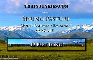 "TrainJunkies O Scale ""Spring Pasture"" Model Railroad Backdrop 24x144"""
