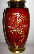 "10 1/2"" Carlton Ware Rouge Royale Pottery Vase ~Stylized Bird ~Gold Enamel Trees"