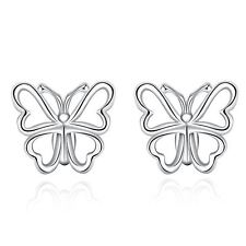 925 Silver Plt Hollow Butterfly Stud Earrings Summer Ladies Gift Moth Wing A