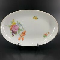 "Henneberg Porzellan 1777 German Democratic Republic Flowers Oval Serving Dish 9"""