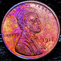 """1917 P Lincoln Wheat Penny Cent- """"Beautiful Toning"""" SUPERB GEM HIGH GRADE #00"""