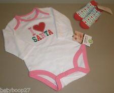 Carter's Baby Girl Pink I Love Santa Christmas Bodysuit Mud Pie Booties Set 3M