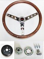 "GRANT Steering Wheel Wood 15"" Chrome Walnut Red/Black Cap Fits Ididit Column"