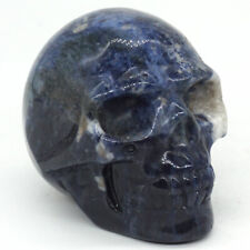 """2"""" Natural Stone Blue Sodalite Skull Figurine Carved Crystal Healing Statue 3034"""
