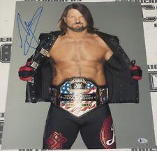 Aj Styles Signed 16x20 Photo Bas Beckett Coa Wwe Us Champ Belt Picture Autograph