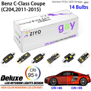 14 Bulb Deluxe LED Interior Dome Light Kit for C204 2011-2015 Benz C-Class Coupe