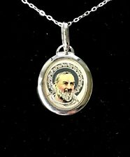 ST SAINT PADRE PIO - STERLING SILVER MEDAL NECKLACE PENDANT - GIFT BOXED