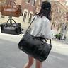 Mens Womens Leather Gym Sport Shoulder Bag Travel Overnight Luggage Handbag Tote