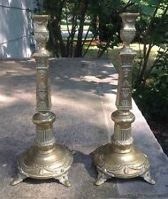 "RUSSIAN/POLISH JUDAICA CANDLESTICKS ""FRAGET N PLAQUE "" WARSZAWA"