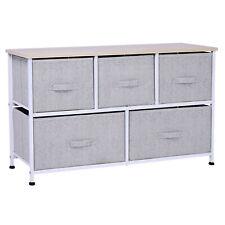 HOMCOM Storage Dresser Tower Adjustable Feet 5 Drawers Steel Frame Home