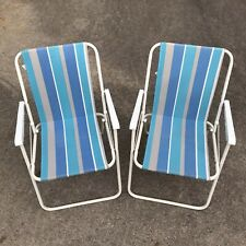 Vintage Set of 2 Aluminum Folding Lawn Chairs Blue Gray White Lightweight