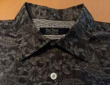 Gorgous Men's L Nat Nast Luxury Long Sleeve Black Floral Design $155   C010
